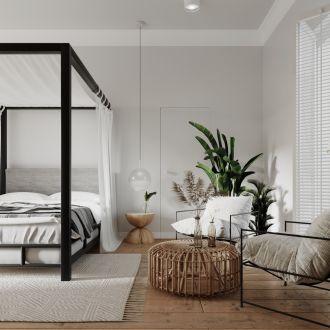 sypialnia biel i kolory natury