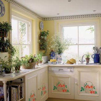 Kosz pełen jablek to bardzo dekoracyjny motyw do kuchni w rustykalnym stylu.