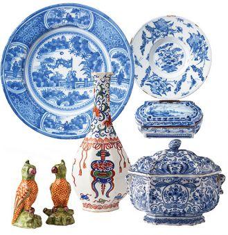 Od lewej: duży talerz ze scenkami rodzajowymi, 1660-1680 r., mały talerz zdobiony stylizowanymi motywami roślin i