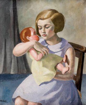 Dziewczynka z lalką , 1930 r., POLSWISS ART, aukcja z dn. 4.10.2009, nr kat. 21