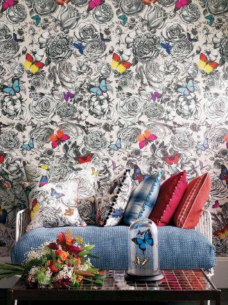 salon z tapetą w motyle