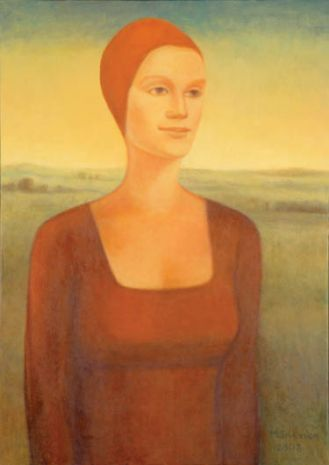 Kobieta z wieczornym pejzażem , olej na płótnie, 2007 r.