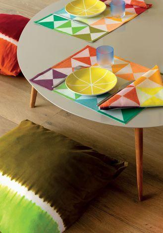 Serwety z kolekcji Origami Multico, kupimy też bieżnik, obrus, a nawet ręczniki, Le Jacquard Français