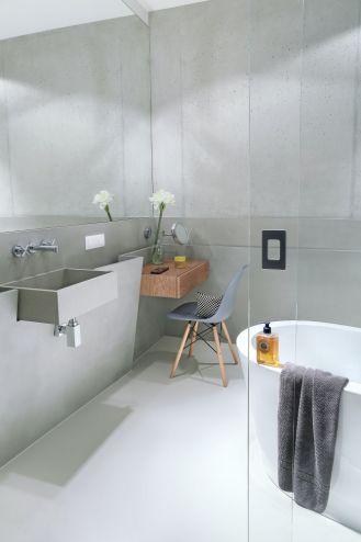 szara łazienka styl loftowy