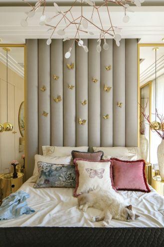 beżowo złota sypialnia