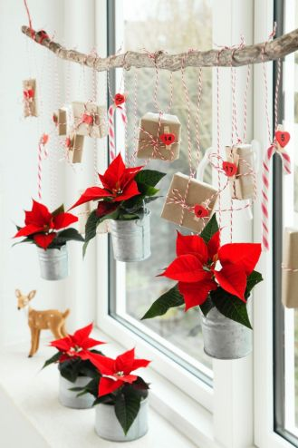 świąteczne dekoracje okna z gwiazdą betlejemską