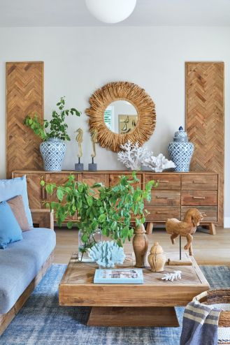 drewniane meble i dodatki do salonu