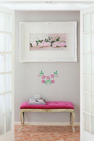 Róże na ścianę - szablon do malowania