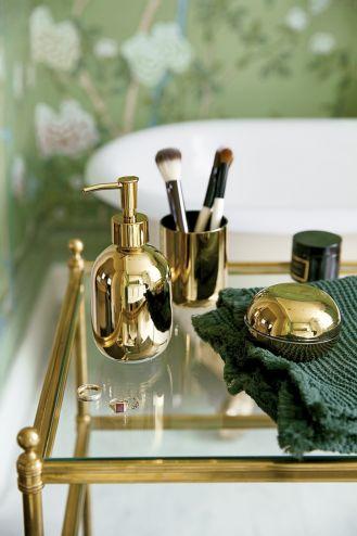 złote dodatki do łazienki