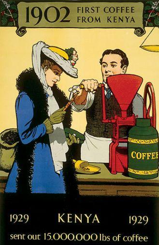 Plakat reklamujący kawę sprowadzaną z Kenii, Zarząd Marketingu Imperium, 1929 r.