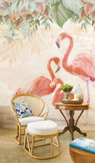 Flamingos Party – tapeta bez PCW, dobra dla alergików, Wallpepper, ok. 380 zł/m2.