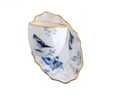 zestaw porcelany filiżanka i talerzyk deserowy