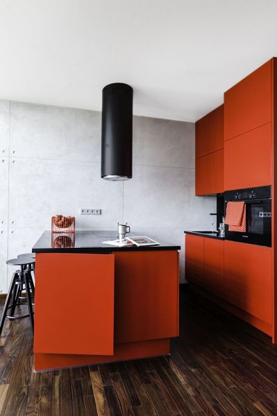 czerwone fronty mebli kuchennych