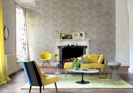 szary salon z żółtą sofą