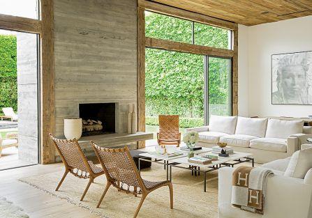 nowoczesny salon z drewnem