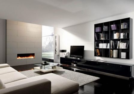salon z kominkiem w nowoczesnym stylu