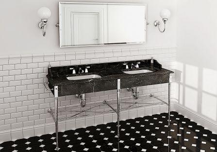 stylowa łazienka biało czarna