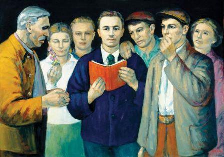 Alfred Lenica- Młody Bierut wśród robotników , 1952 r., Muzeum Zamoyskich w Kozłówce, fot. T. Żółtowska-Huszcza