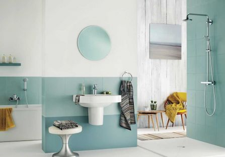 łazienki aranżacje niebieskie
