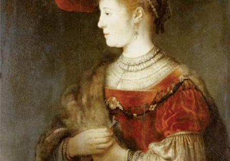 Barokowa elegantka Saskia, żona Rembrandta, na portrecie jego pędzla z 1642 r., Muzeum Miejskie w Kassel, Niemcy, fot. FORUM