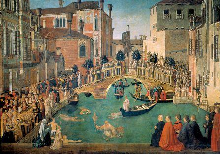 Cud krzyża przy moście San Lorenzo , Gentile Bellini, 1500 r., Gallerie dell'Accademia, Wenecja
