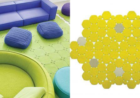 Fotele Ease, projekt: Francesco Rota dla marki Paola Lenti Dywan Prisma, projekt Patricia Urquiola i Eliana Gerotto dla mari
