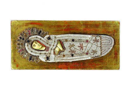 Ikona Zaśnięcie Bogurodzicy w paciorkowej sukience, Rosja XIX w.