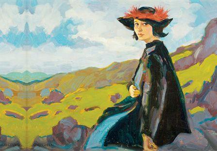 """""""Kobieta w kapeluszu"""", ok. 1910 r.,  Gustaw Gwozdecki,  Polswiss Art."""