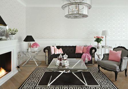 aranżacja salonu w stylu glamour w czerni i różu