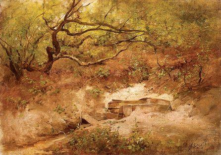Maksymilian Gierymski Jabłoń nad potokiem , 1868 r., MN w Krakowie