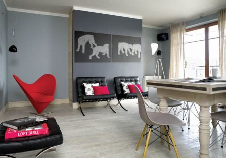 Salon minimalistyczny i spójny kolorystycznie.