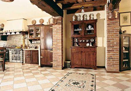 Nietuzinkowa dekoracja podłogi - kamienna rozeta. Kolekcja Anticato Naturale. Wymiary płyt 30,5 x 30,5 cm. YETI