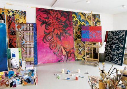 Olga Wolniak- atelier artysty. Malowane kobierce Olgi Wolniak