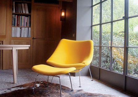 Oyster, fotel nawiązujący kształtem do ostrygi, Artifort, 1954 r.