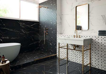 klasyczne płytki do łazienki czarno-białe