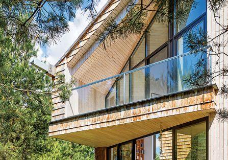 Sam kształt domu jest bardzo nowoczesny.