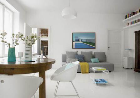 Ulubiony kolor właścicielki mieszkania to biel.