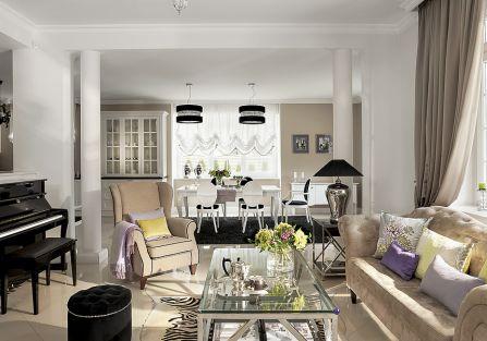 W stylu glamour: kanapa z Almi Decor, Fotel Nord, meble Modern z poduszkami i pledem od Decodore Basic.
