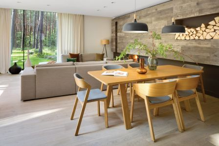 nowoczesne wnętrza ocieplone drewnem
