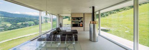 nowoczesny dom salon szkło