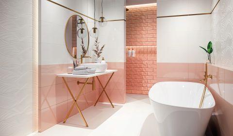 płytki łazienkowe różowe