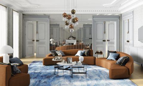 brązowa sofa w salonie