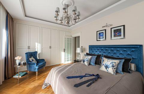 biało niebieska sypialnia