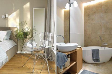 nowoczesne wnętrza łazienka i sypialnia