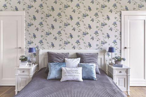 styl francuski sypialnia niebiesko-szara