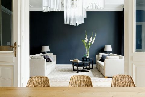 Czarno-białe wnętrze salon