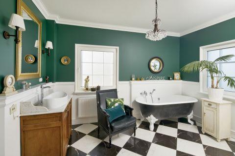 łazienka zielono biała