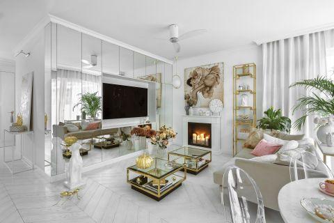 białe wnętrza ze złotymi dodatkami w stylu glamour
