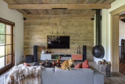 salon w stylu rustykalnym nowoczesnym