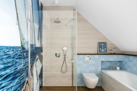 łazienka nowoczesna niebieska